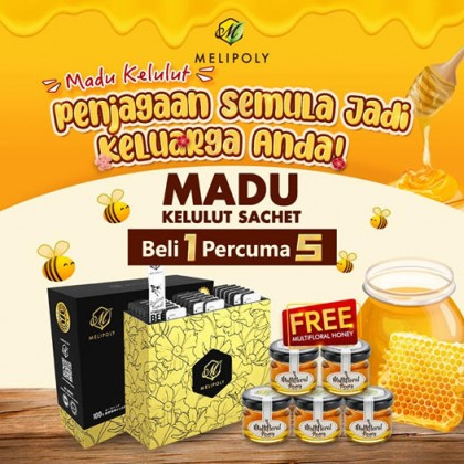 Melipoly Stingless Bee Honey Sachet Pack (10gm x30shachet) [Free 5x30gm Multifloral Honey 30gm]